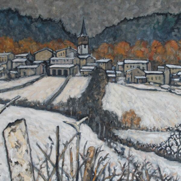 Vernassal sous la neige, (Oil on Canvas) SOLD