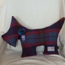 Deep cerise and Blue Scottie Dog Cushion