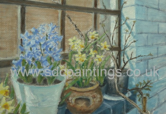Potted Hyacinths And Daffodils