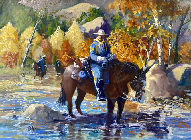 Oil Painting of US Cavalry patrol in the high country in Montana