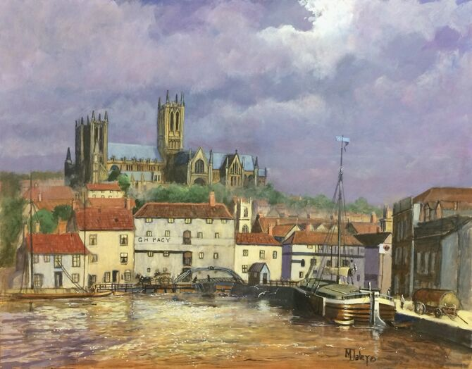 Lincoln cathedral  Brayford Pool  marine art  acrylic painting Lincolnshire