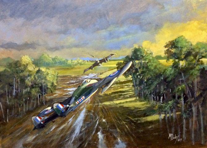 De Havilland Venoms   Cold war jets.  Aviation Art  Acrylic painting