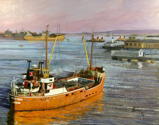the Insistence at Gravesend. Marine Painting Acrylic painting Merchant Navy Coasters River Thames.