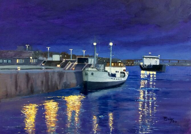 Harbours, Seascape Motor Vessels Marine Art