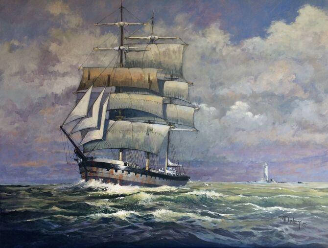 Three masted barque sailing ships Eddystone Lighthouse marine art seascapes