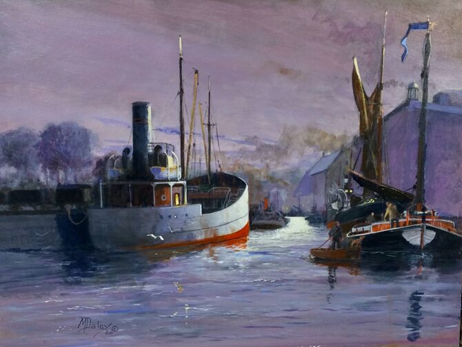 City of Norwich, The Port of Norwich, River Yare, Coasters, Wherries, Marine Painting Acrylic painting