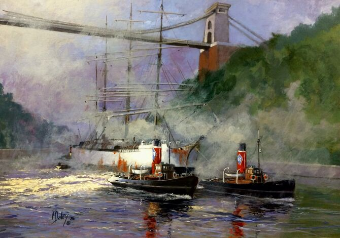 Rea Tugs. Bristol Avonmouth Clifton suspension bridge Marine Art