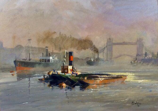 River Thames,  tug,  coaster,  Marine Painting, Acrylic painting , seascape