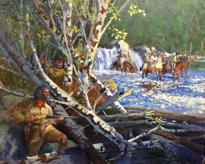 Western Art, Yellowstone, Blackfeet tribe, Acrylic painting