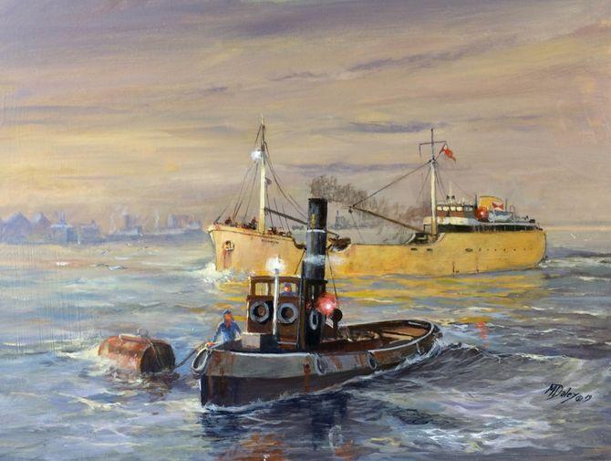 River Thames  tug coaster Marine Painting Acrylic painting