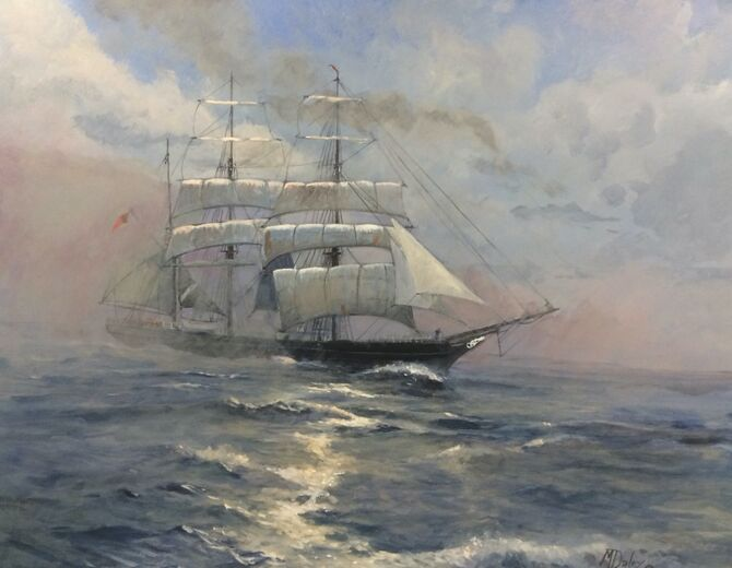 Marine art. Acrylic painting. Seascapes sailing ships Barque