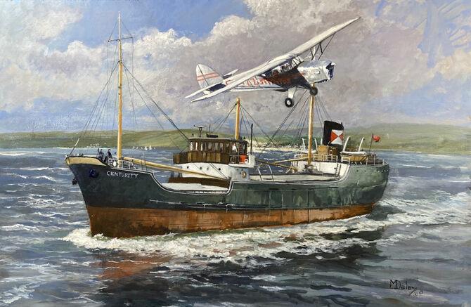 aviation art marine art F T Everards Auster aircraft