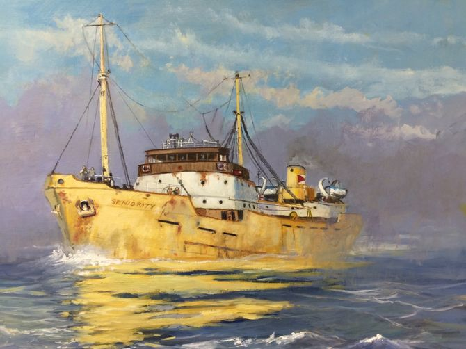 Everard and Sons Grain motor vessel. Hull painted yellow and known as a Yellow Peril. Merchant Navy, London river Oil painting