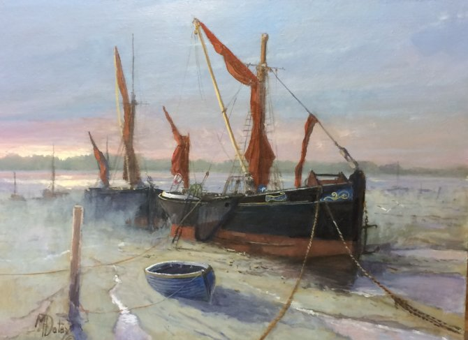 Sunrise and Barges at Norski Noos gallery Dereham.