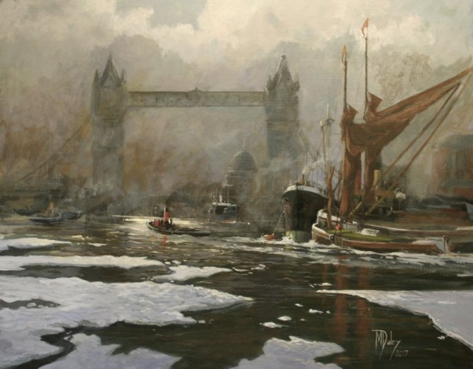 SOLD    Fog and Ice on the Thames - at Cotswold Galleries Stow on the Wold