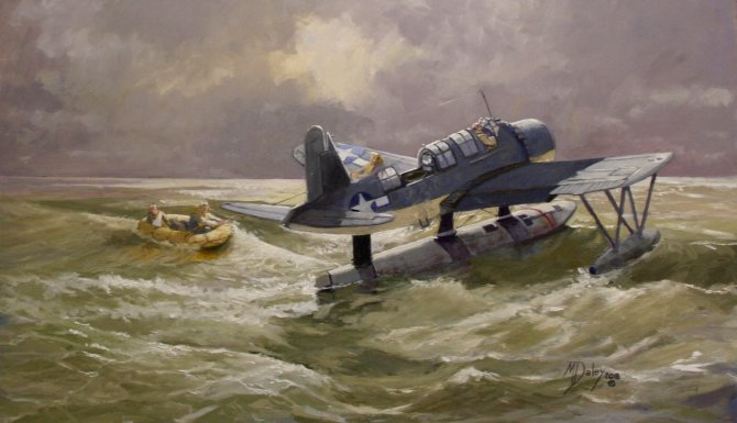 Lifeline!   A Vought Kingfisher has landed to pick up two lost US aircrew.  Selected for GAvA Exhibition Mall Galleries 7/2018