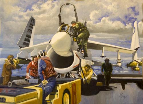 A7E Corsair on board USS Enterprise - flight prep