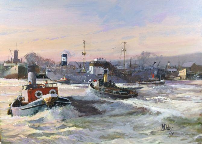 Marine Art Acrylic Painting Tugs Seascape