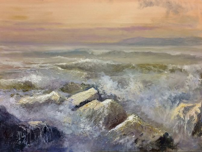 Oil painting of seascape with painting knife  Marine Art
