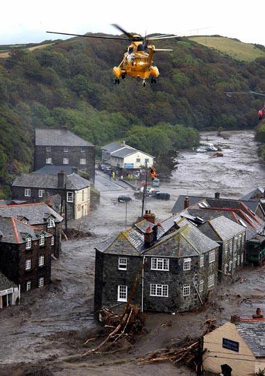 Flash flood rips through Boscastle, Cornwall.