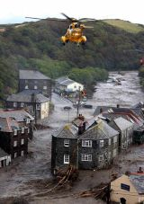 Flash flood rips through Boscastle, Cornwall.