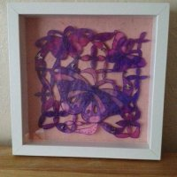 butterfly textile art panel
