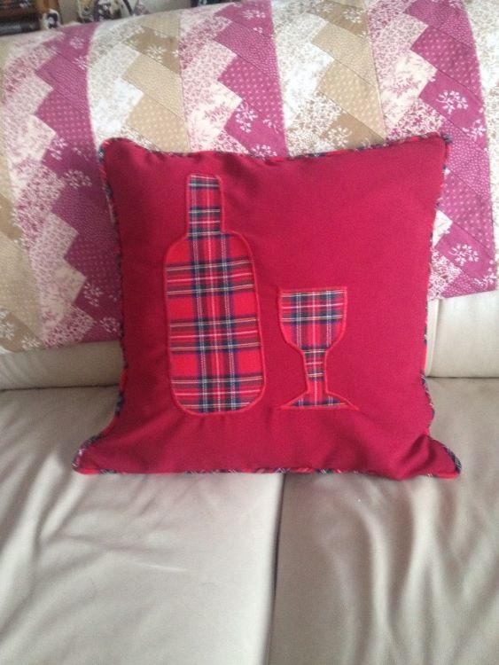 Tartan wine bottle and wine glass cushion