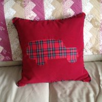 tartan landrover design cushion