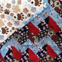 """wag """"n"""" woof paw print design quilt"""