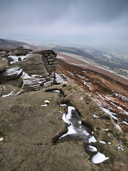 A Dusting of snow on Bamford Edge Derbyshire
