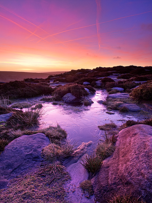 Frozen peat puddle at Higger Tor