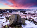 Dawn over millstones on Stanage