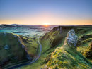 Spring sunrise over Winnats Pass