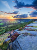 Sunset over heather on Curbar Edge