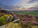 Sunset over millstones on Burbage