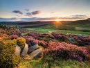 Summer sunset over millstones on Burbage