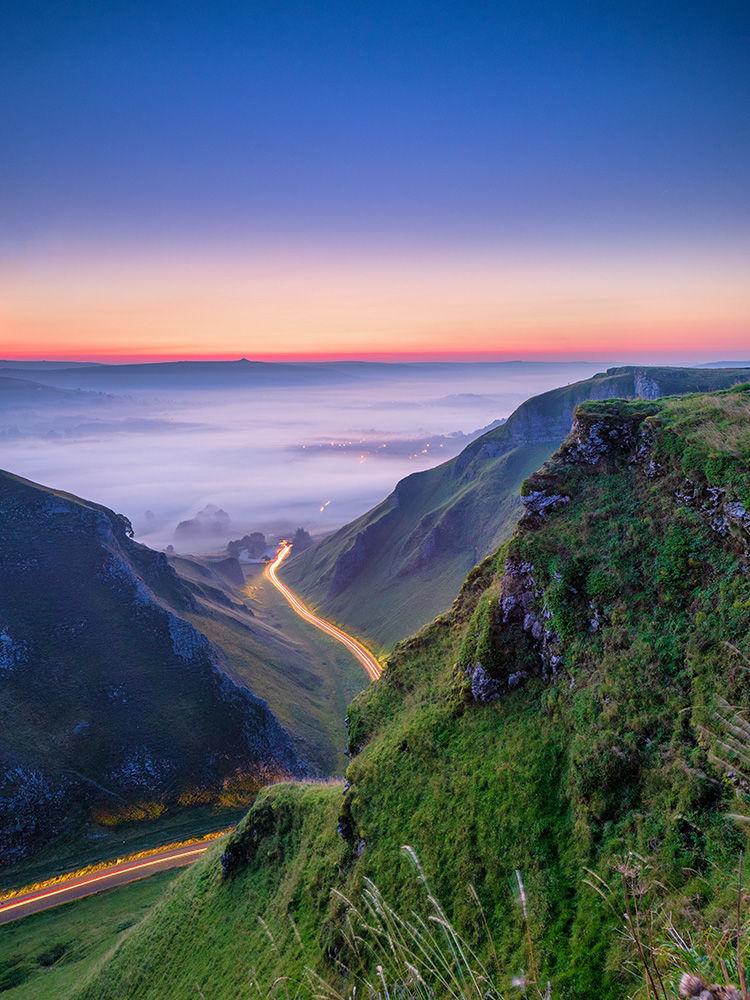 Winnats Pass dawn (car trails)