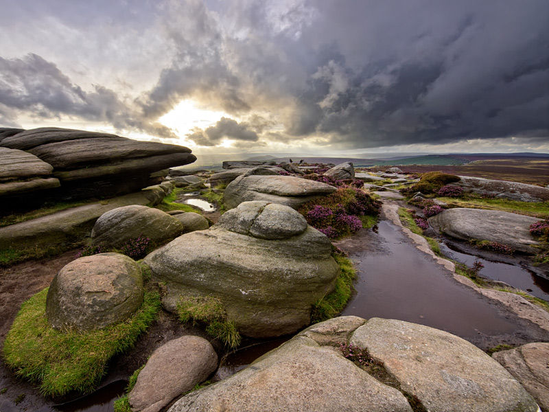 Breaking light over Stanage