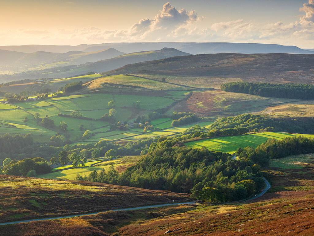 Evening light over the Hope Valley from Stanage Edge