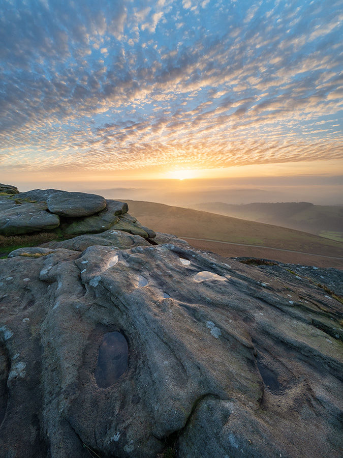 December sunset on Stanage Edge