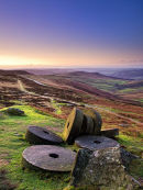 Dawn over Stanage millstones