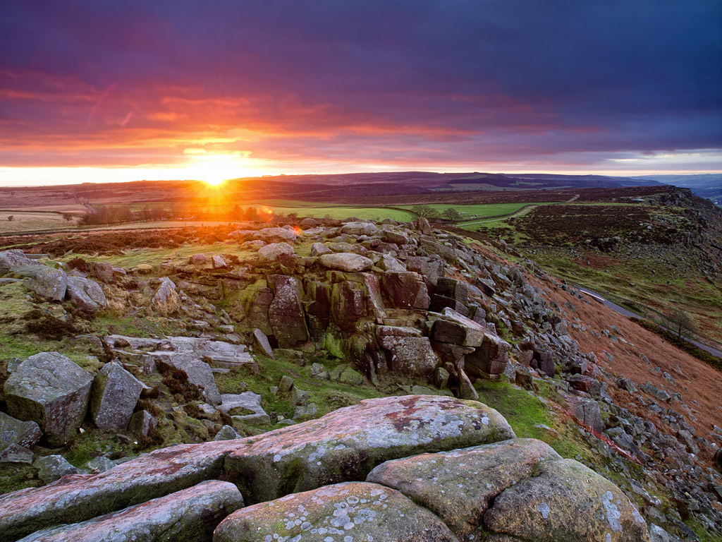 Sunrise over Curbar Edge