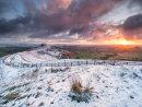 Winter sunrise on Mam Tor ridge.