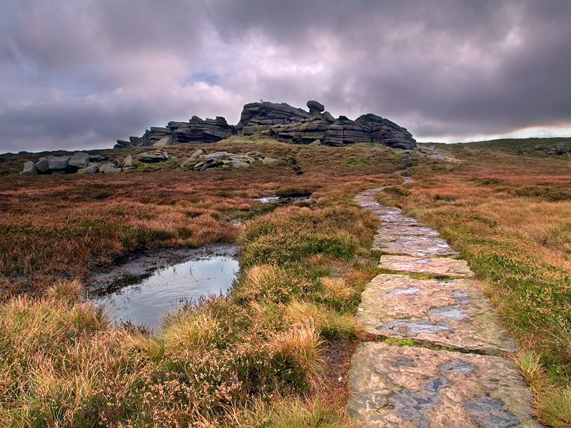 Flagged pathway at Back Tor Derbyshire.