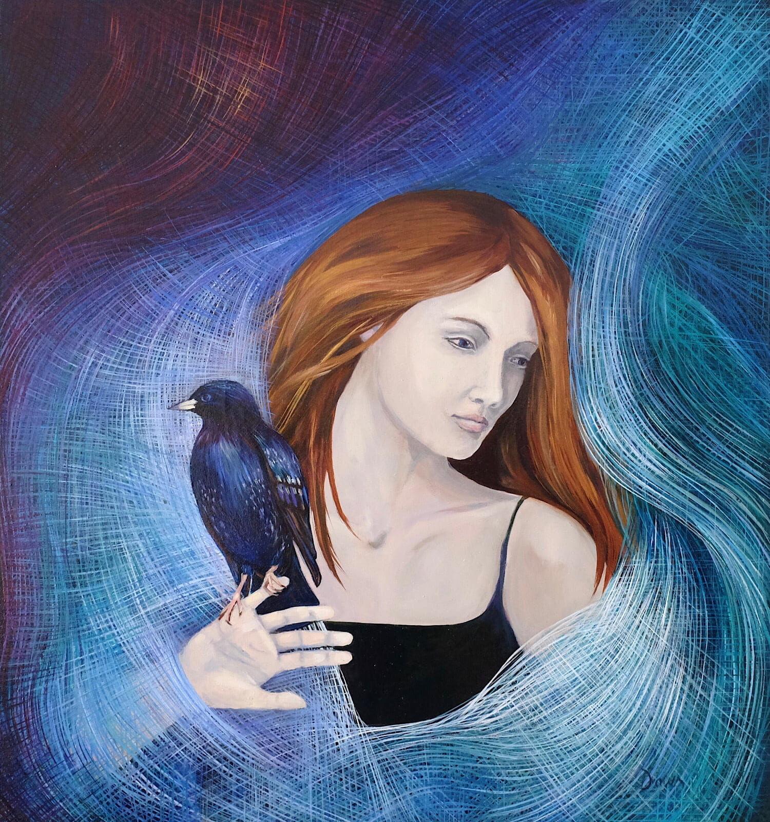 Murmur oil painting Dawn Rodger starling