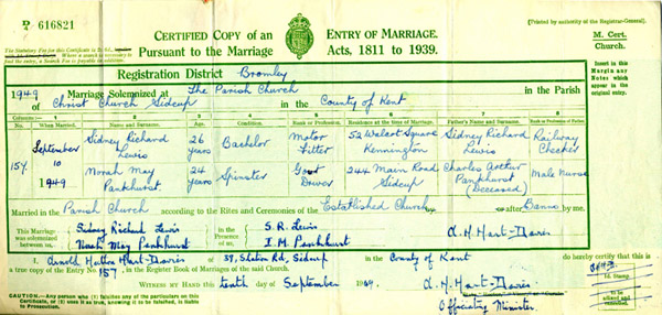 NORAH PANKHURST & SIDNEY LEWIS - MARRIAGE 1949
