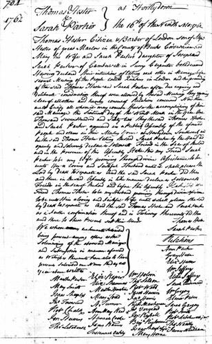 THOMAS HESTER - QUAKER MARRIAGE 1762