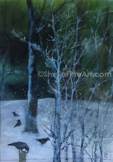 Crows in the Snow 1
