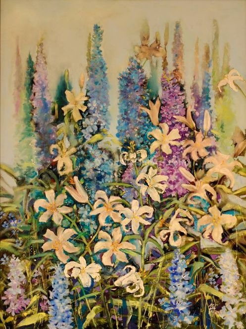 Delphiniums and Lillies