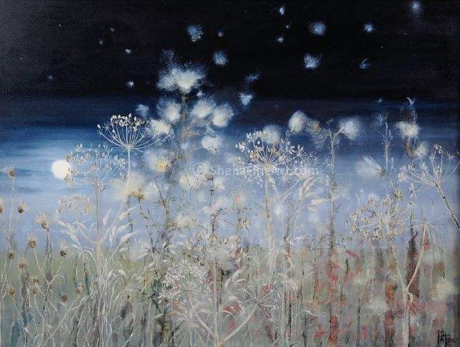 Thistledown & Seedheads with Moon Rising